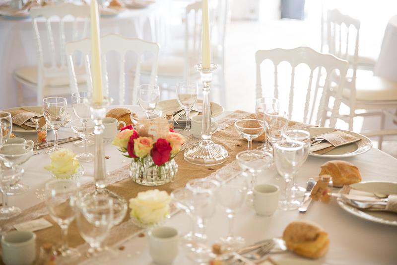 décoration de table de mariage au château Rossignol en dordogne